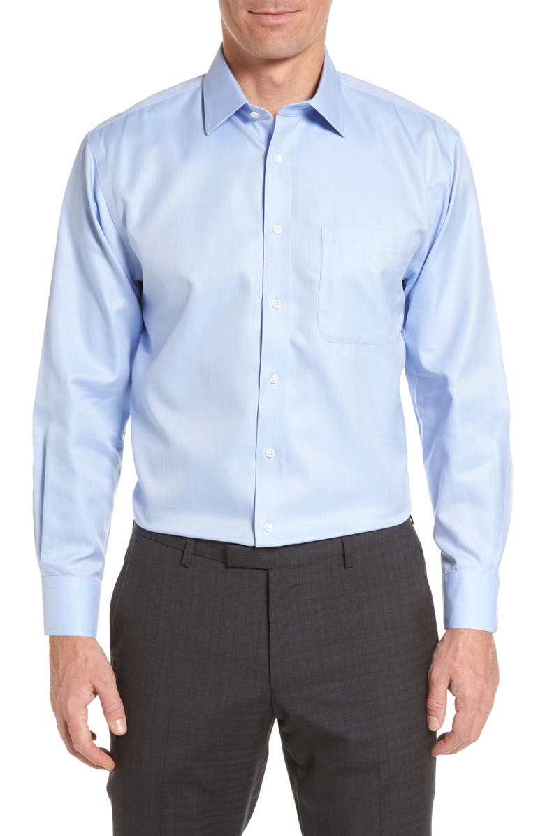 NORDSTROM Smartcare<sup>™</sup> Traditional Fit Herringbone Dress Shirt, Main, color, LIGHT BLUE