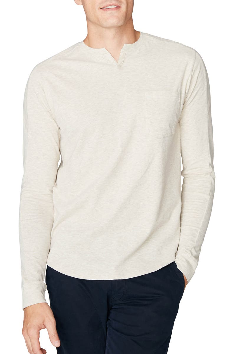 GOOD MAN BRAND Victory Slim Fit Notch Neck Long Sleeve T-Shirt, Main, color, STONE HEATHER