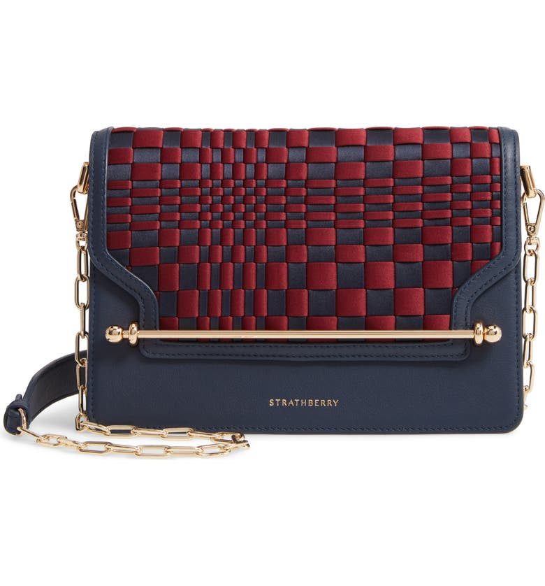 STRATHBERRY Weave East/West Satin & Leather Crossbody Bag, Main, color, 400