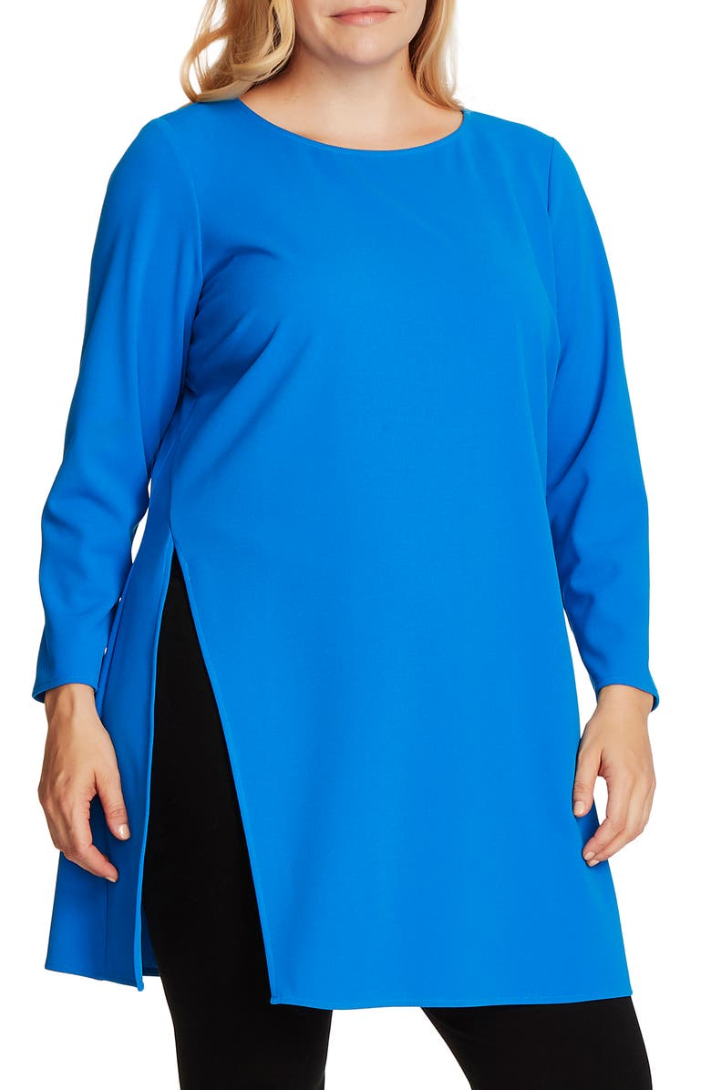 VINCE CAMUTO Long Sleeve Side Slit Crepe Tunic, Main, color, PEACOCK