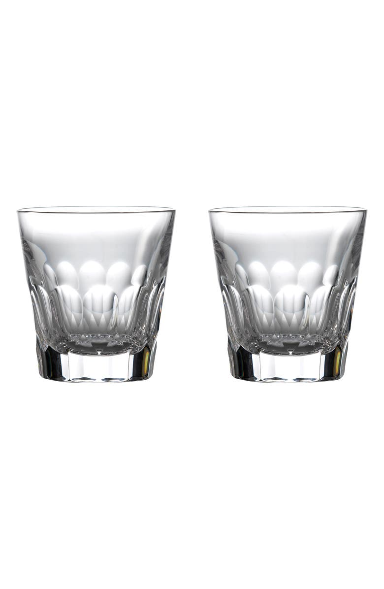 WATERFORD Jeff Leatham Icon Set of 2 Lead Crystal Double Old Fashioned Glasses, Main, color, CLEAR