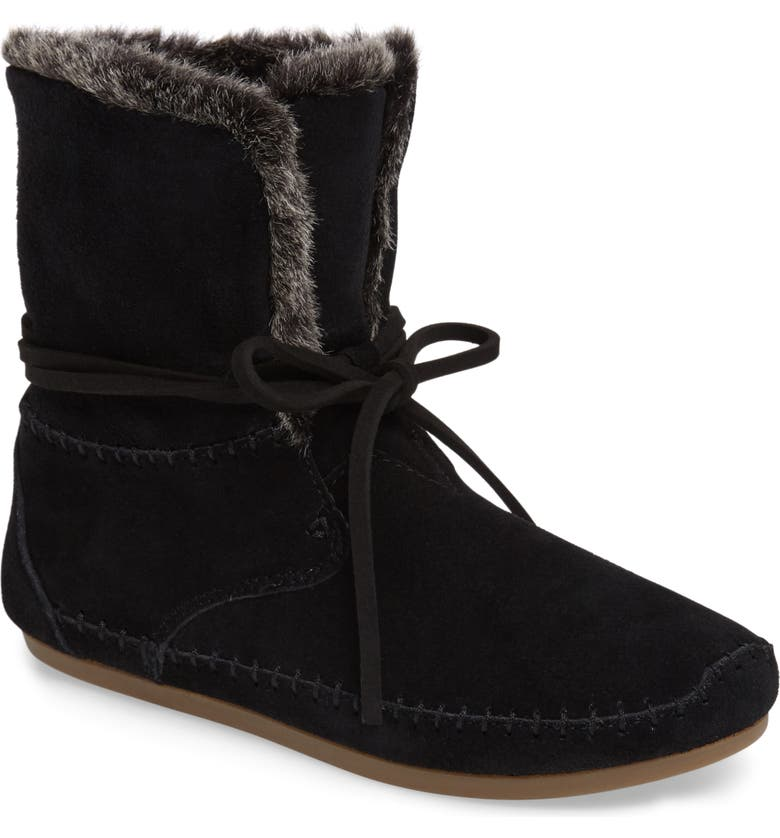 TOMS 'Zahara' Suede Bootie with Faux Fur Lining, Main, color, BLACK