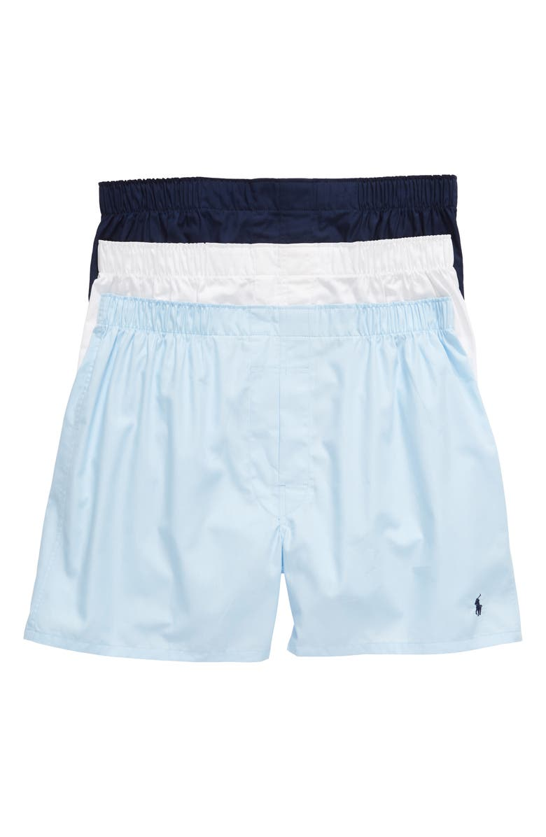 POLO RALPH LAUREN 3-Pack Boxers, Main, color, WHITE/ LIGHT BLUE/ CRUISE NAVY