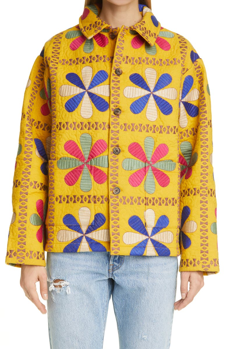 BODE Bengali Tableau Quilted Workwear Jacket, Main, color, Yellow