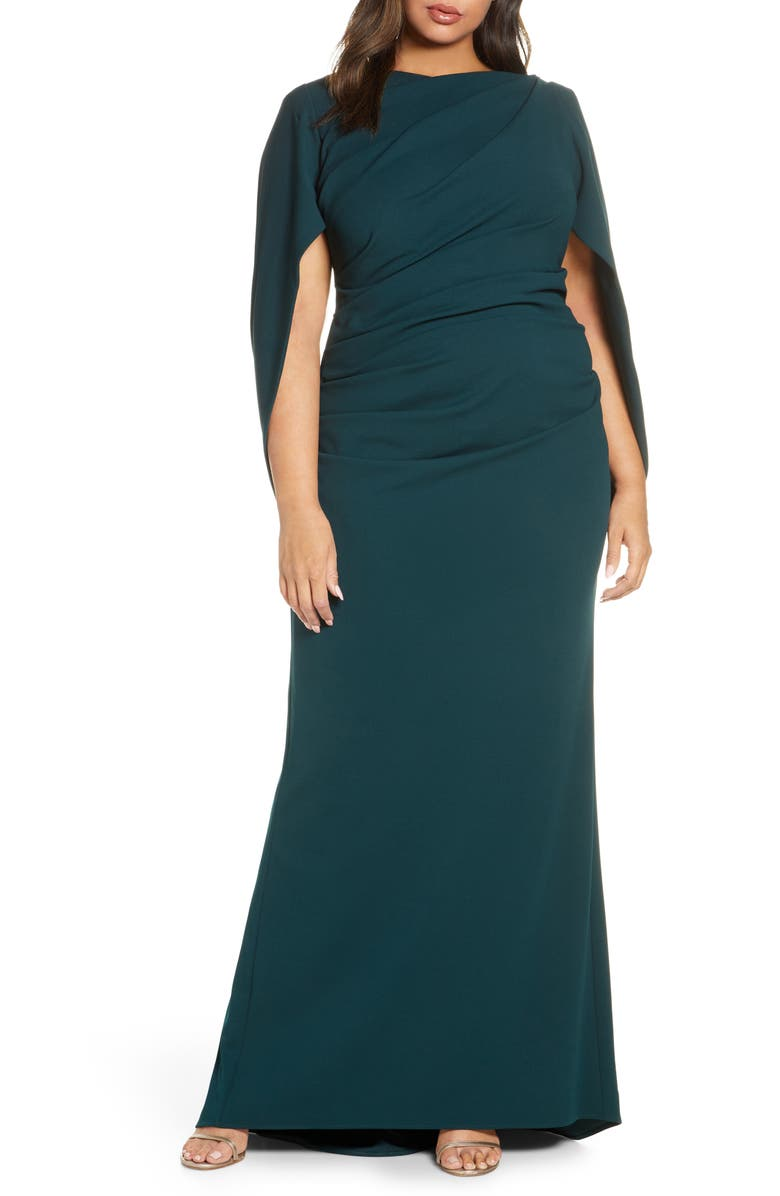 BETSY & ADAM Drape Back Scuba Crepe Gown, Main, color, 398