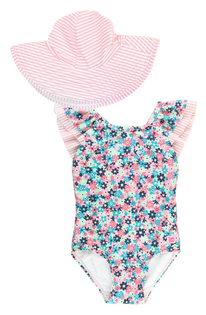RUFFLEBUTTS Water Lilies One-Piece Swimsuit & Hat Set, Main, color, Pink