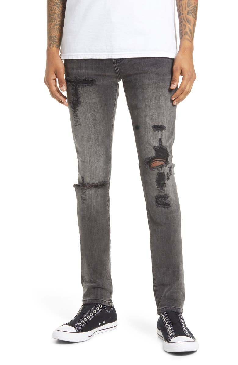 CULT OF INDIVIDUALITY Punk Men's Distressed Super Skinny Jeans, Main, color, FLINT
