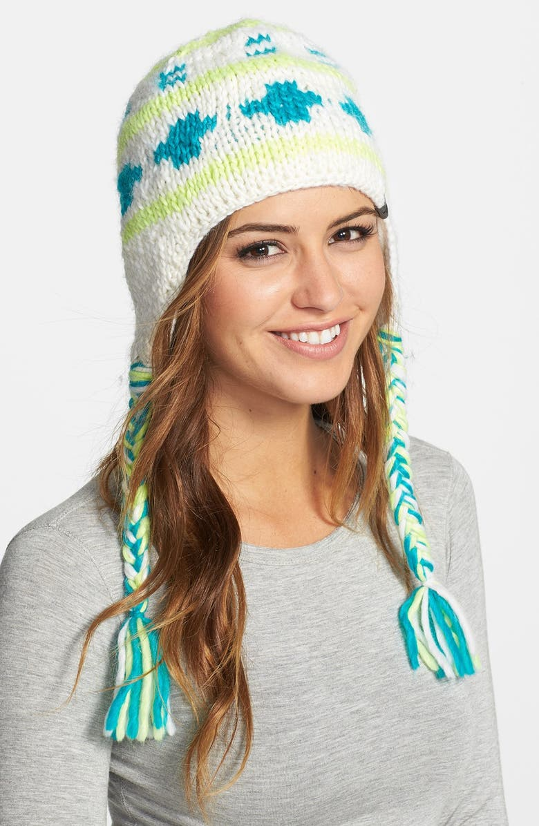 THE NORTH FACE 'Boulder Peruvian' Beanie, Main, color, WHITE/ RAVE GREEN