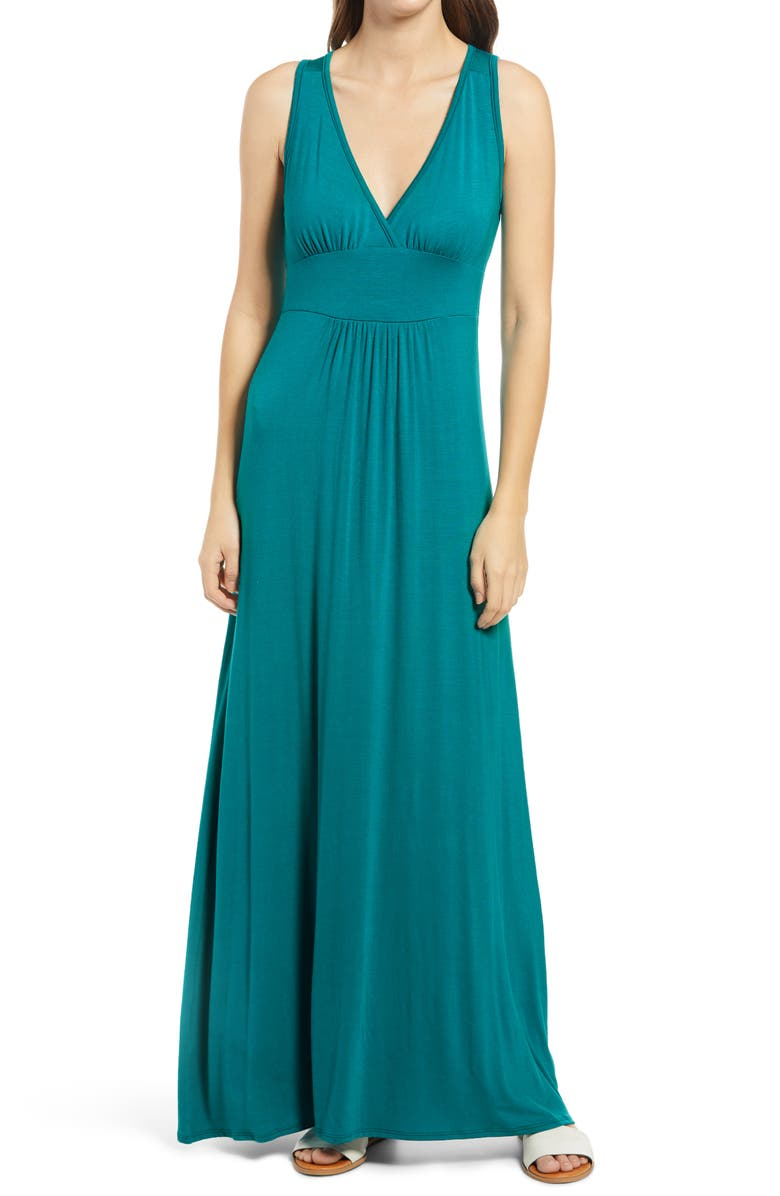 LOVEAPPELLA V-Neck Jersey Maxi Dress, Main, color, NO_COLOR