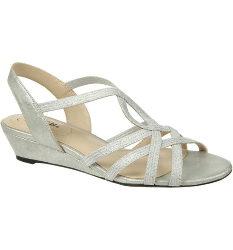 LIFESTRIDE Yaya Wedge Sandal - Wide Width Available, Main, color, SILVER
