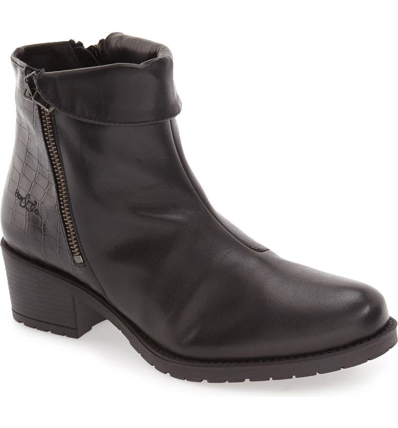 BOS. & CO. 'Borano' Slouchy Waterproof Bootie, Main, color, BLACK CRINKLE PATENT LEATHER