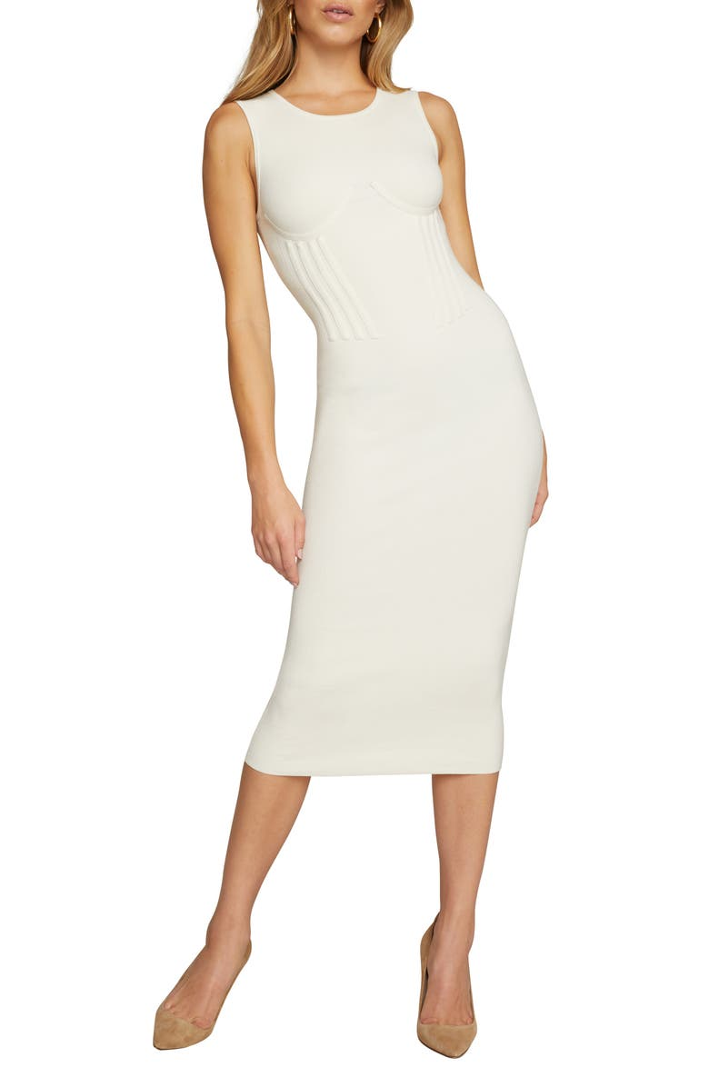 GOOD AMERICAN The Influential Corset Waist Sleeveless Sweater Dress, Main, color, IVORY001