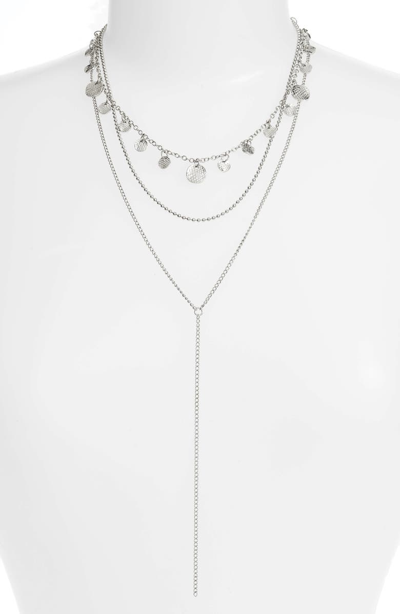 PANACEA Layered Lariat Necklace, Main, color, Silver