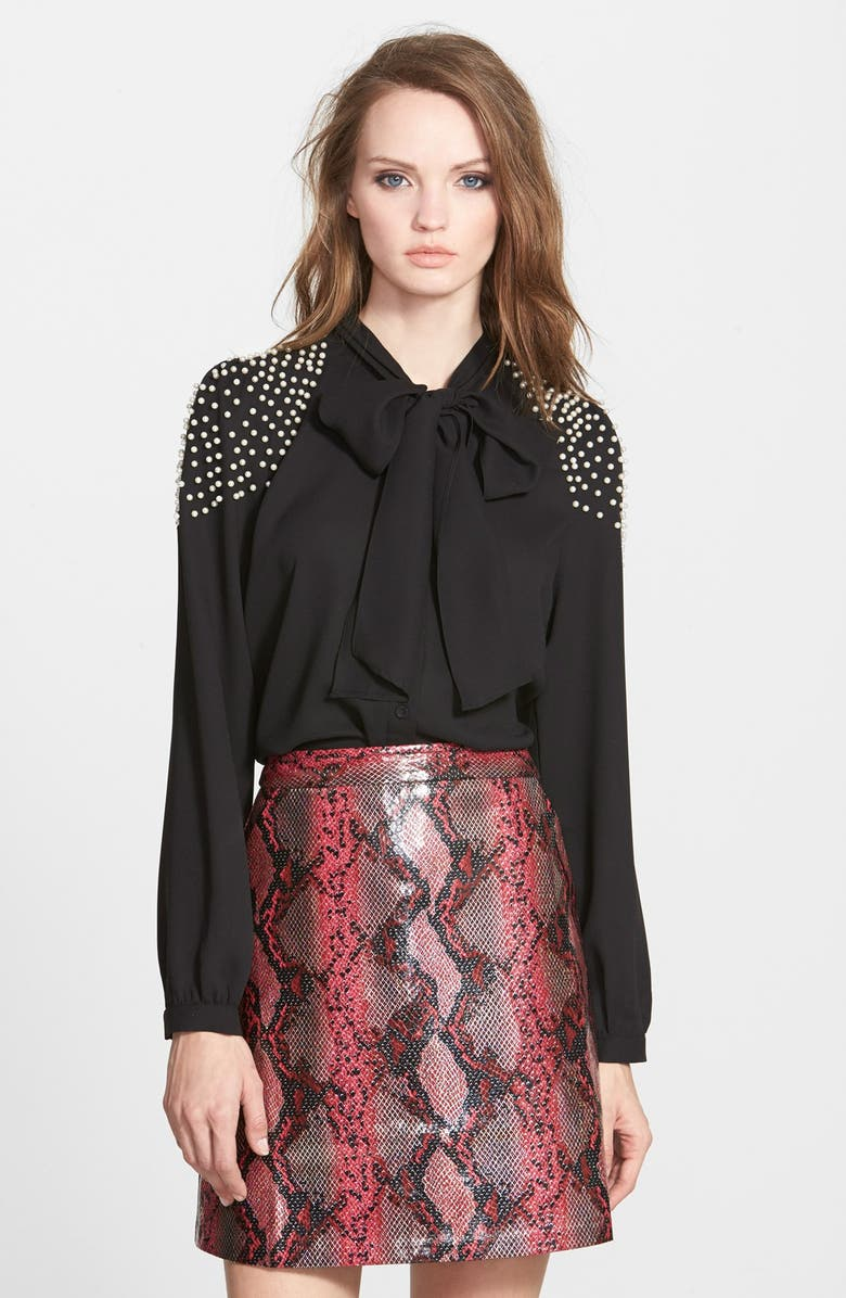 SISTER JANE Faux Pearl Embellished Blouse, Main, color, 001