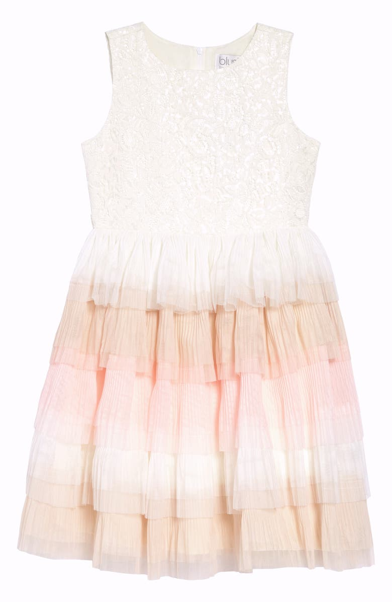 BLUSH BY US ANGELS Sleeveless Ruffle Dress, Main, color, IVORY