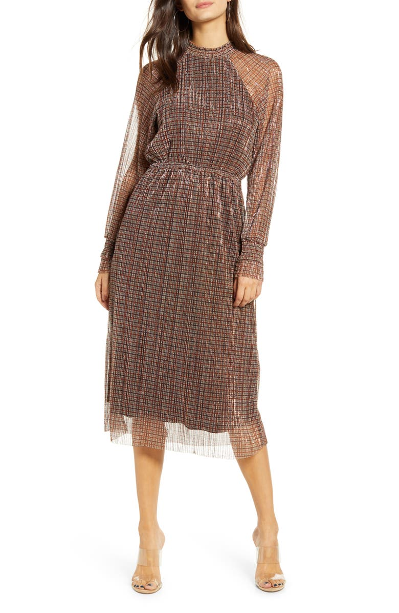 VERO MODA Alexandra Shimmer Plaid Long Sleeve Dress, Main, color, 250