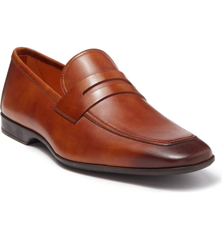 MAGNANNI Vince Leather Penny Loafer, Main, color, CUERO