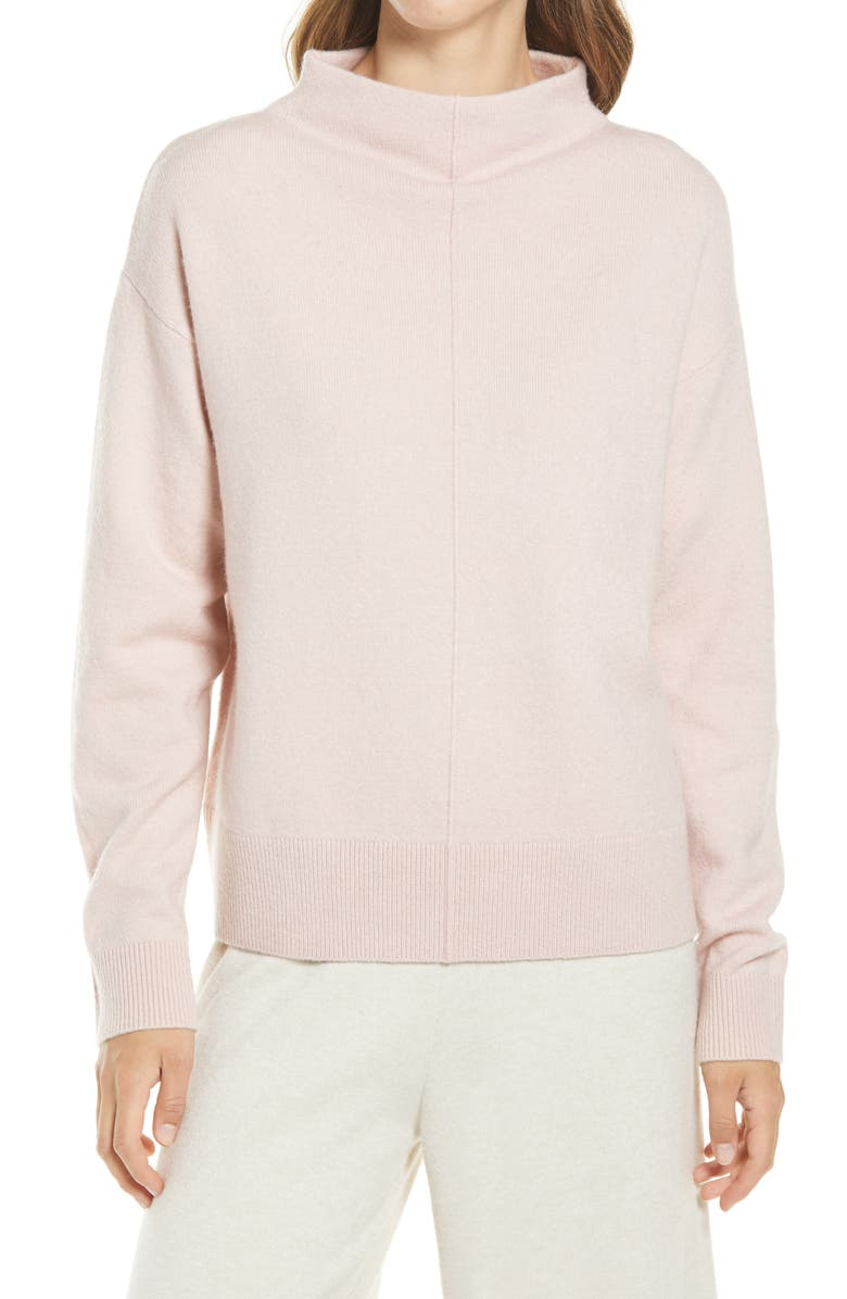 NORDSTROM Seam Detail Funnel Neck Sweater, Main, color, PINK SMOKE