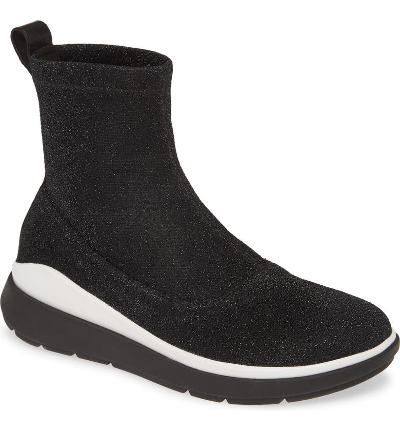 FITFLOP Loosh Luxe Metallic Rapid Knit Bootie, Main, color, 001