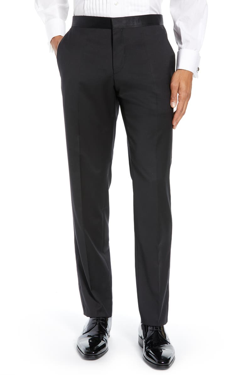 TED BAKER LONDON Josh Flat Front Wool & Mohair Tuxedo Pants, Main, color, Black