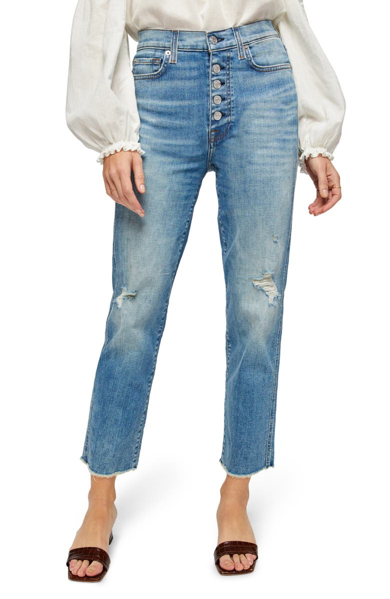 7 FOR ALL MANKIND<SUP>®</SUP> Distressed High Waist Exposed Button Fly Crop Jeans, Main, color, AQUARIUS W/ DESTROY
