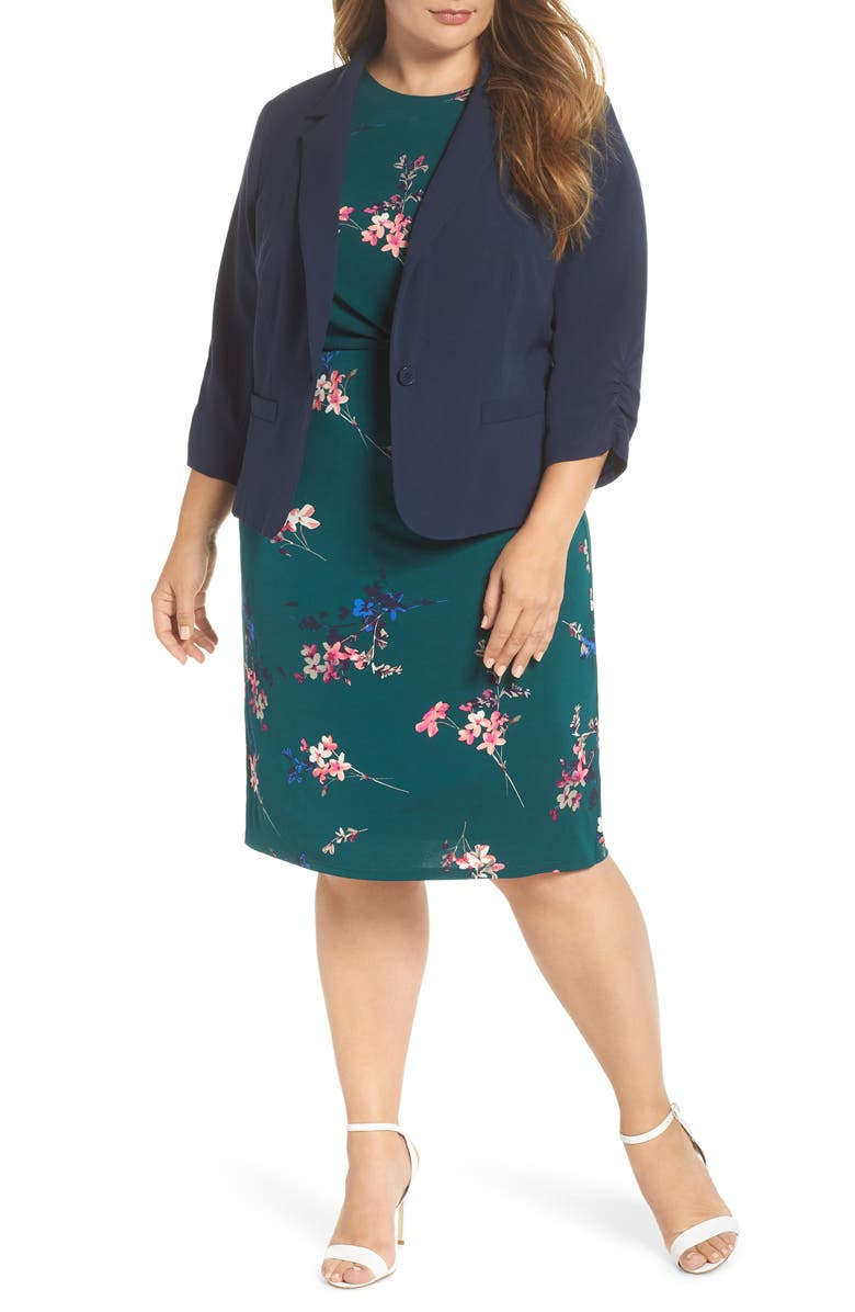 ELIZA J Ruched Sleeve Blazer, Main, color, 410