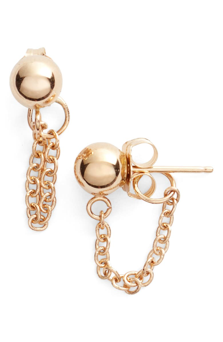 POPPY FINCH Gold Ball Chain Earrings, Main, color, 710
