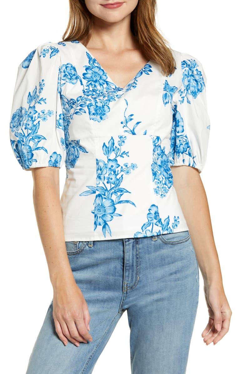 RACHEL PARCELL Puff Sleeve Top, Main, color, 450