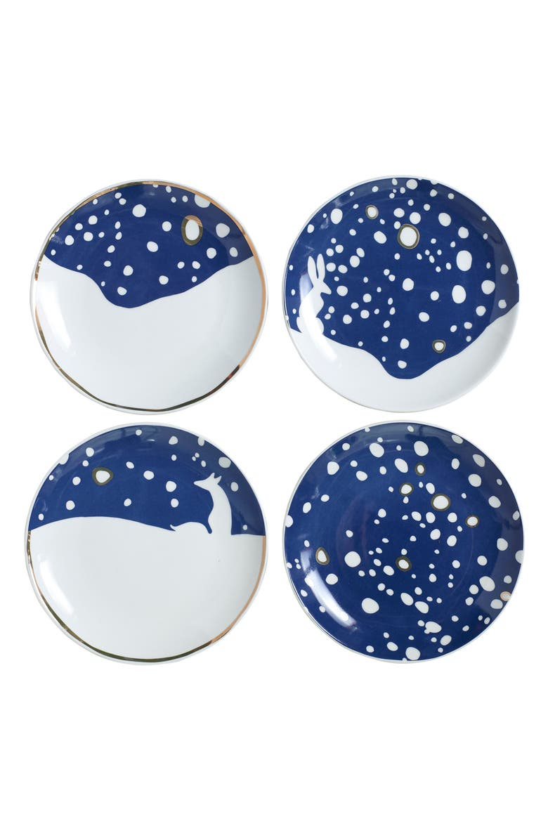 ACCENT DECOR Eric & Eloise Snowy Set of 4 Assorted Plates, Main, color, 400