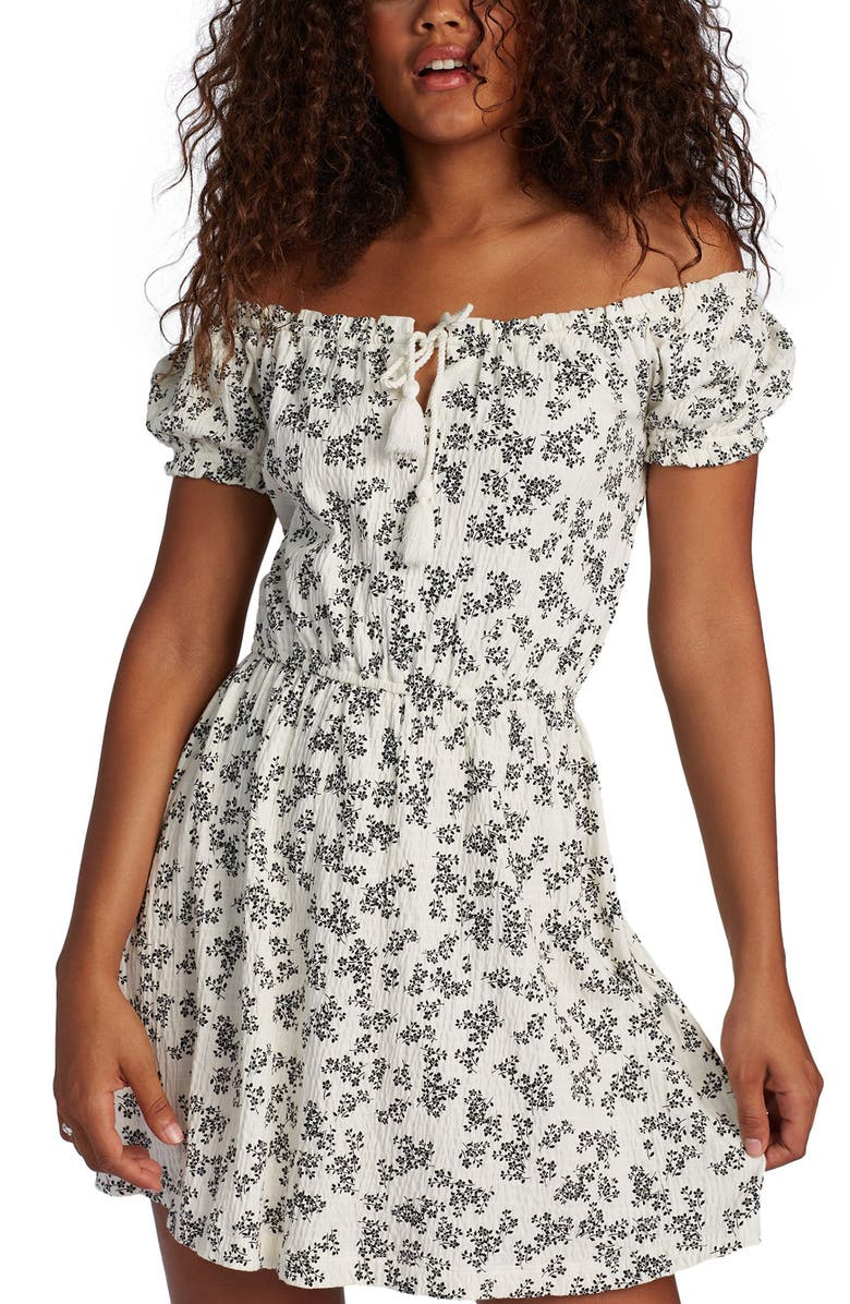 ROXY After the Beach Off the Shoulder Minidress, Main, color, SNOW WHITE PATCHFIELD MICRO