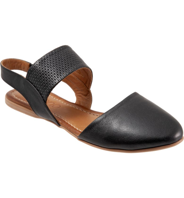 BUENO Kendal d'Orsay Flat Sandal, Main, color, BLACK LEATHER