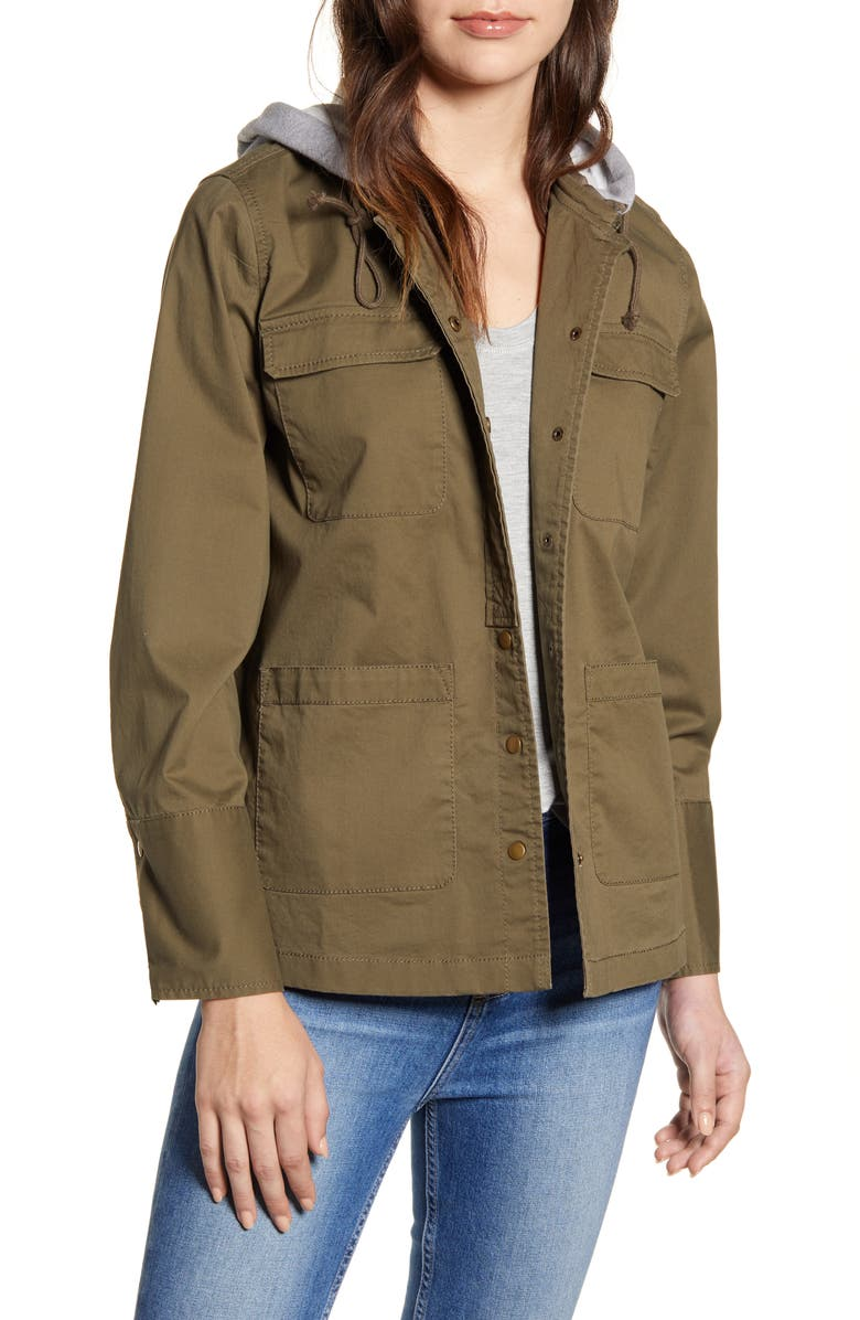 CASLON<SUP>®</SUP> Utility Jacket with Knit Hood, Main, color, 315