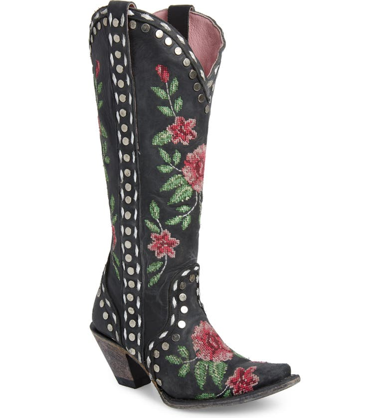 LANE BOOTS x Junk Gypsy Wild Stitch Embroidered Boot, Main, color, BLACK LEATHER