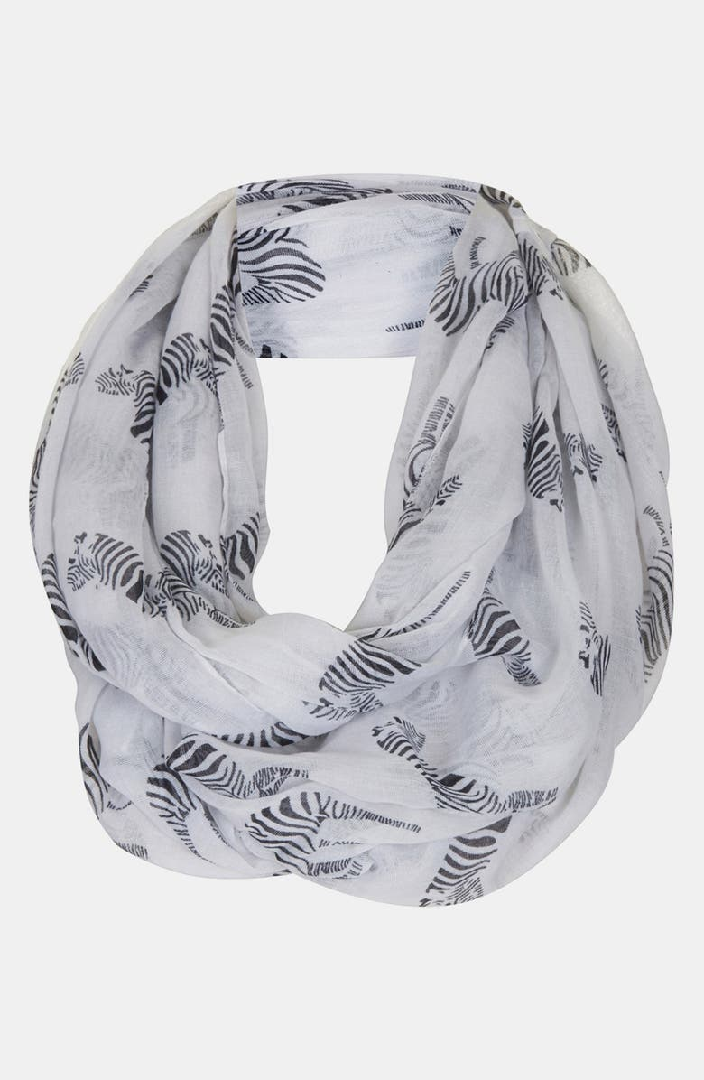 TOPSHOP Zebra Print Infinity Scarf, Main, color, 100