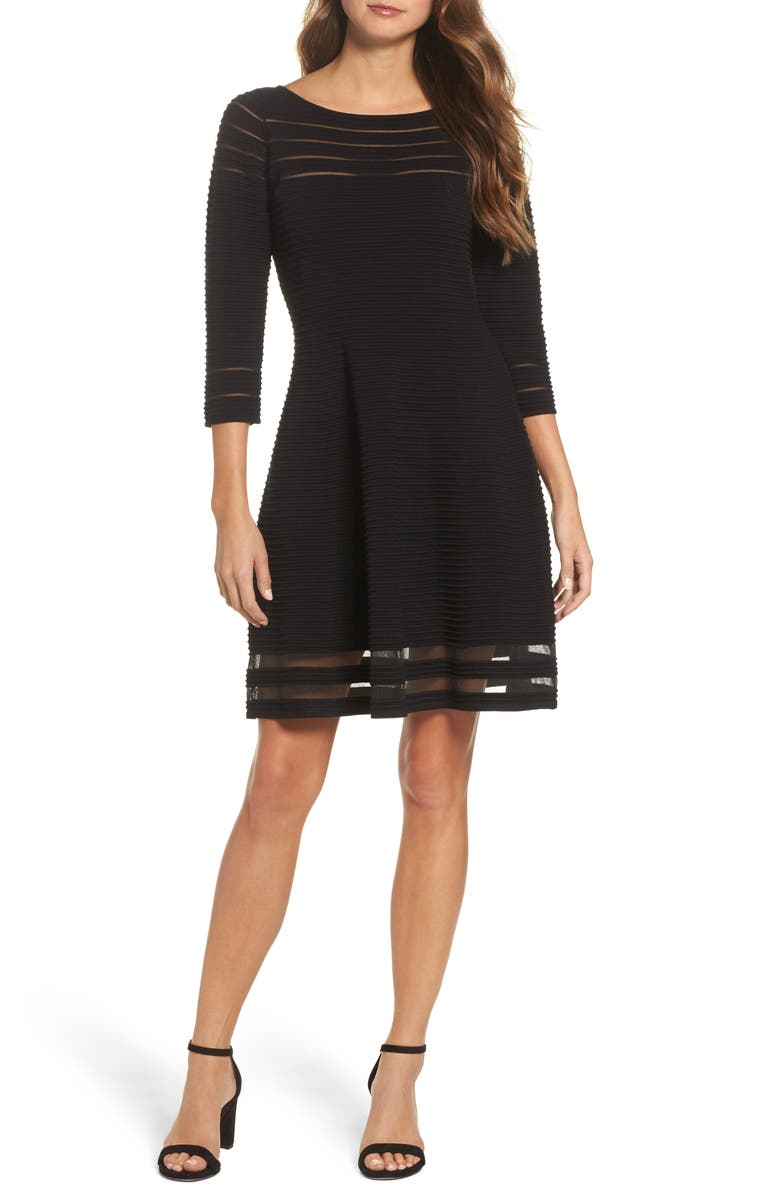 ELIZA J Mesh Fit & Flare Dress, Main, color, 001