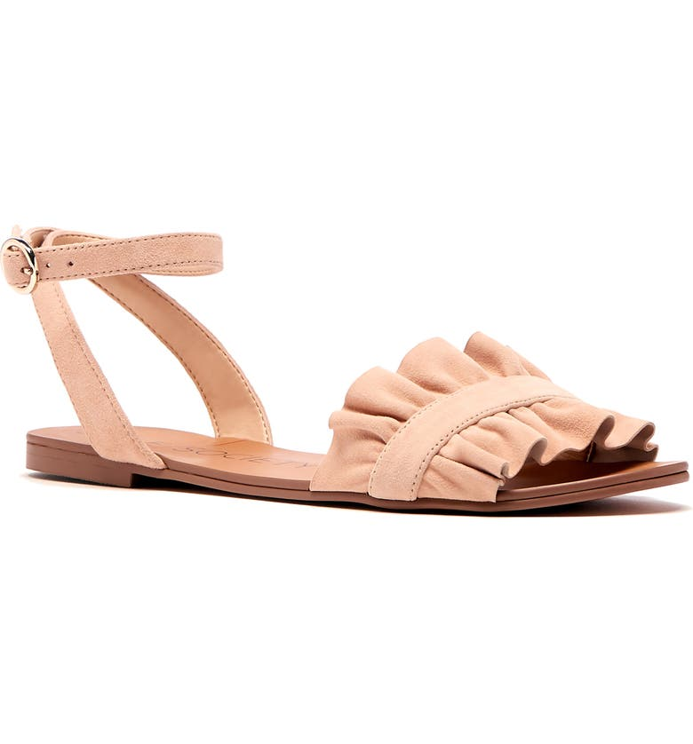 SOLE SOCIETY Elixane Ruffle Sandal, Main, color, SUGAR SUEDE