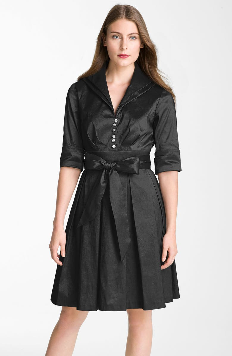 DONNA RICCO Metallic Fit & Flare Taffeta Shirtdress, Main, color, 001
