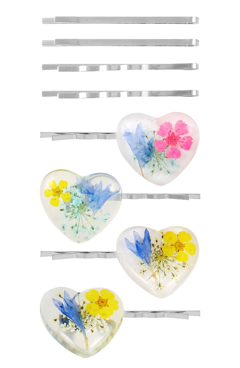 BERRY Floral Resin Heart Bobby Pin - Pack of 8, Main, color, MULTI