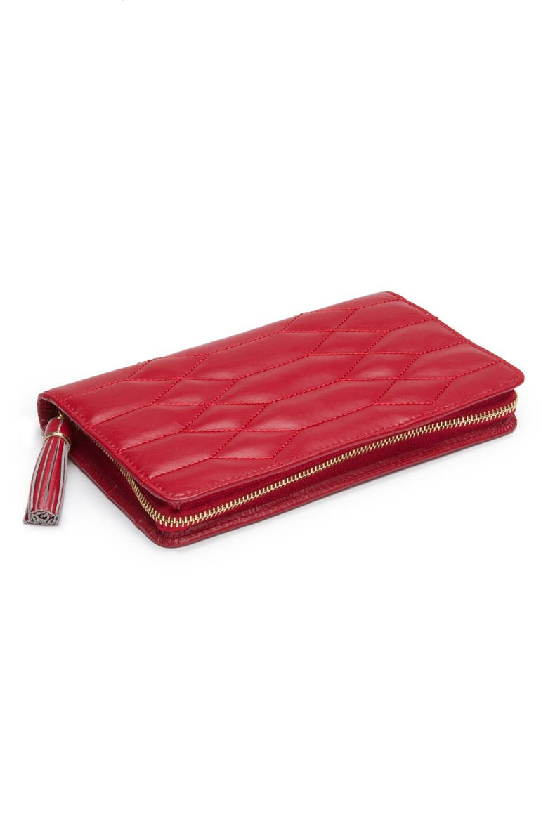 WOLF Caroline Quilted Jewelry Portfolio, Main, color, RED