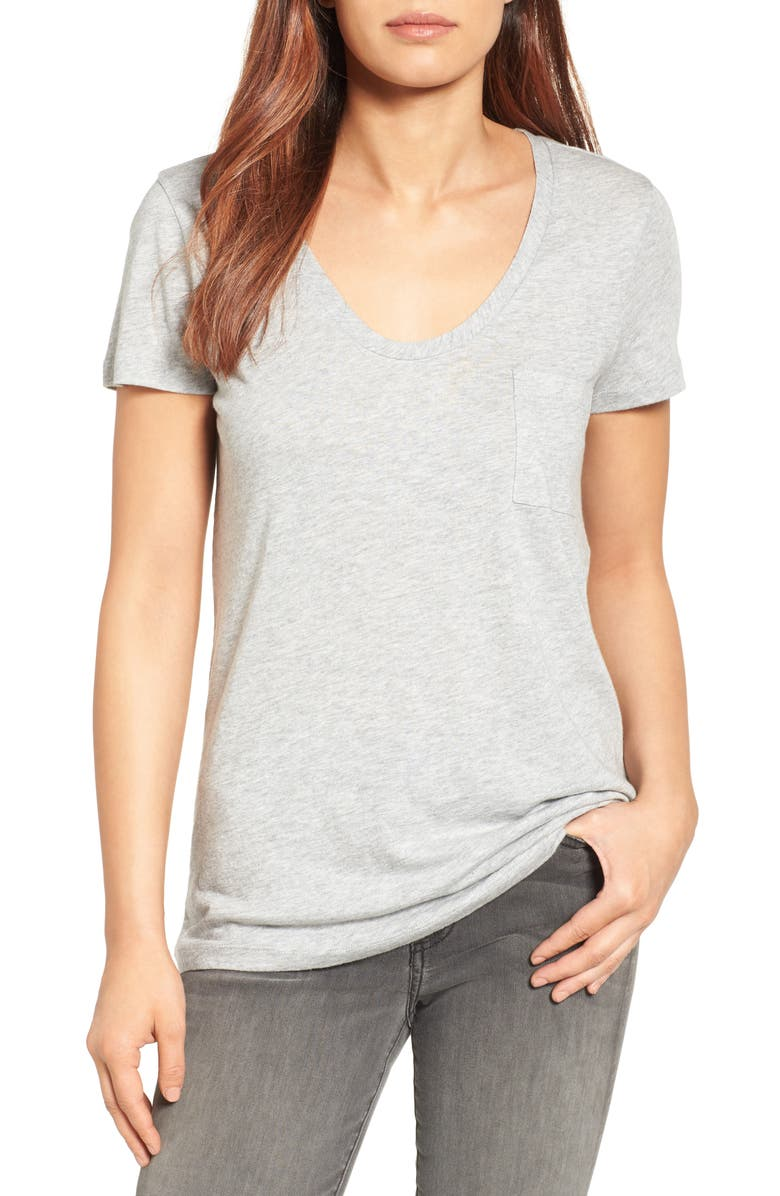 CASLON<SUP>®</SUP> Rounded V-Neck T-Shirt, Main, color, HEATHER GREY