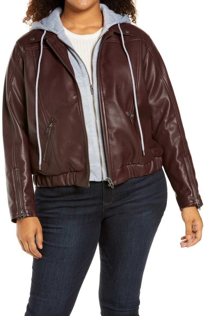 BLANKNYC Faux Leather Jacket with Hooded Bib Insert, Main, color, GRAPE SHAKE OXBLOOD