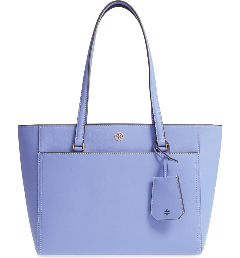 TORY BURCH Small Robinson Leather Tote, Main, color, 468