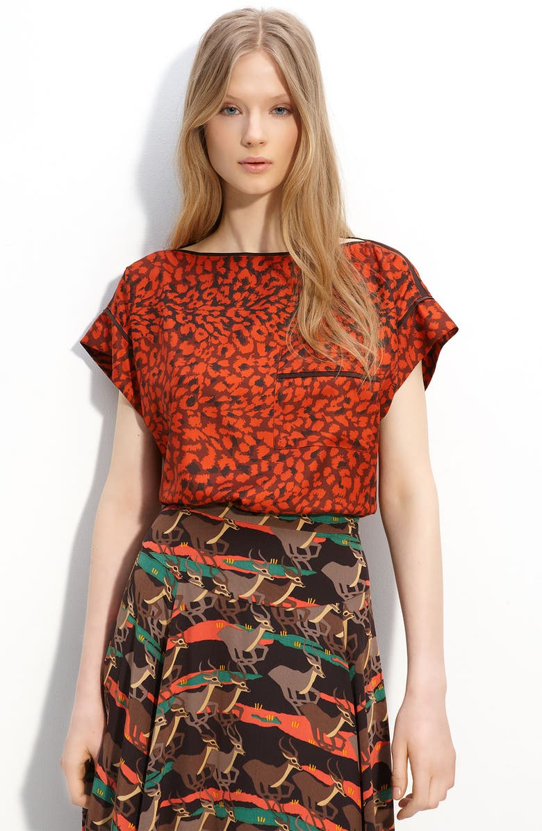 MARC BY MARC JACOBS 'Jungle' Silk Blouse, Main, color, GILLIGAN RUST MULTI