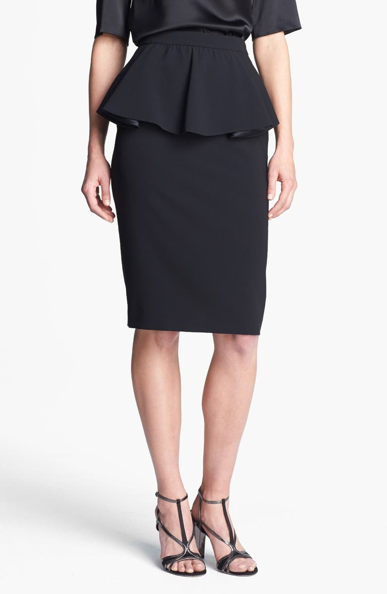 ST. JOHN COLLECTION Draped Peplum Crepe Marocain Skirt, Main, color, 001
