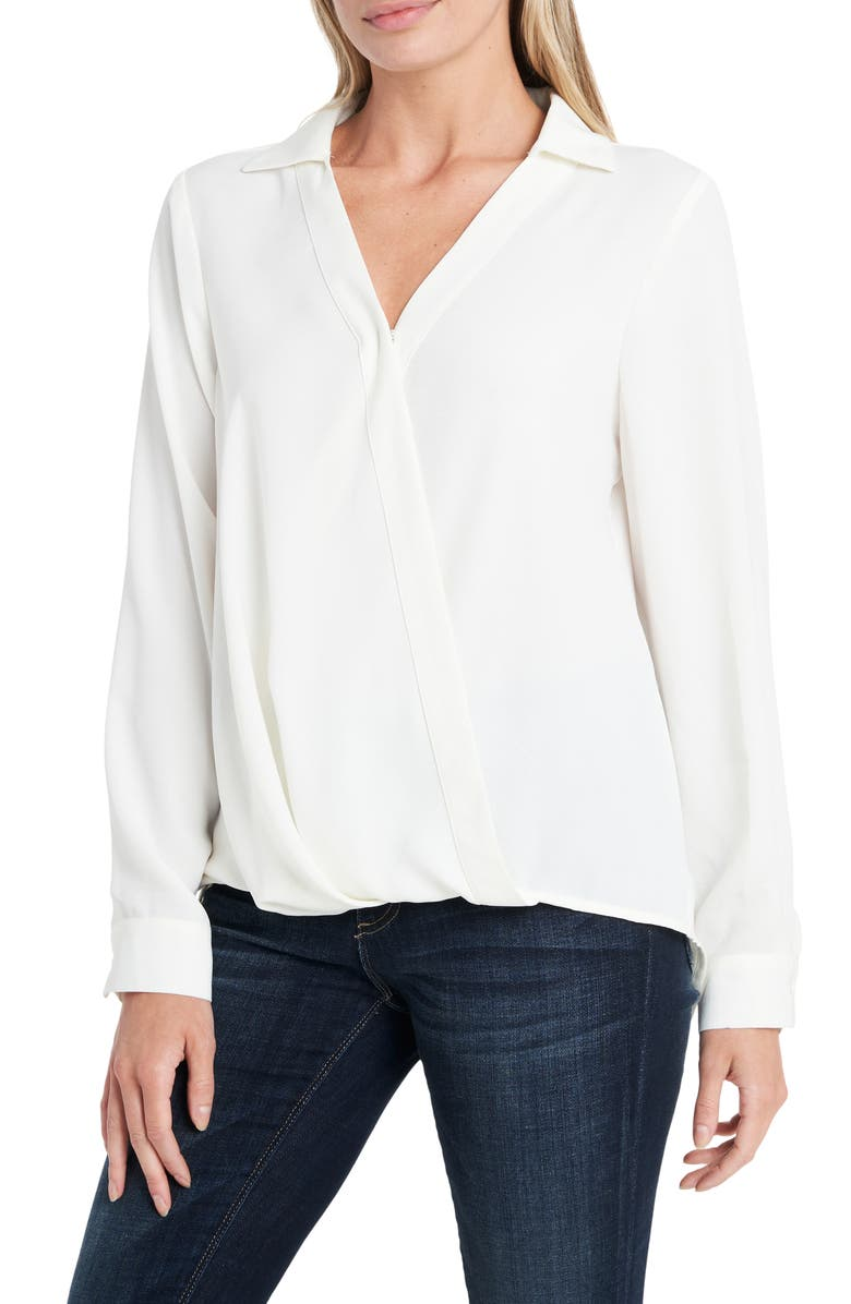 VINCE CAMUTO Wrap Front Rumple Twill Blouse, Main, color, PEARL IVORY