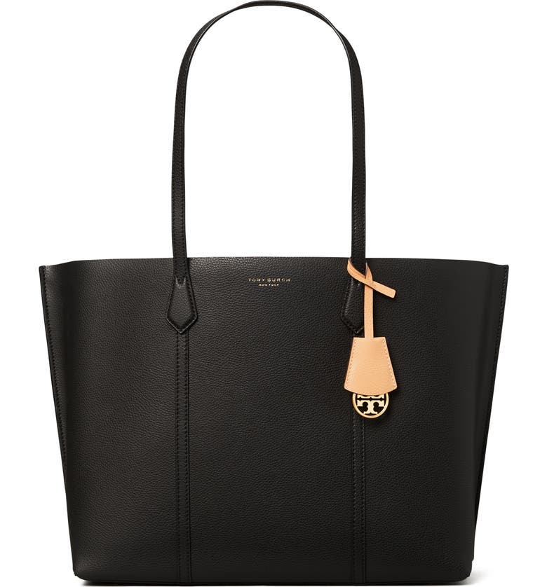TORY BURCH Perry Triple Compartment Leather Tote, Main, color, BLACK
