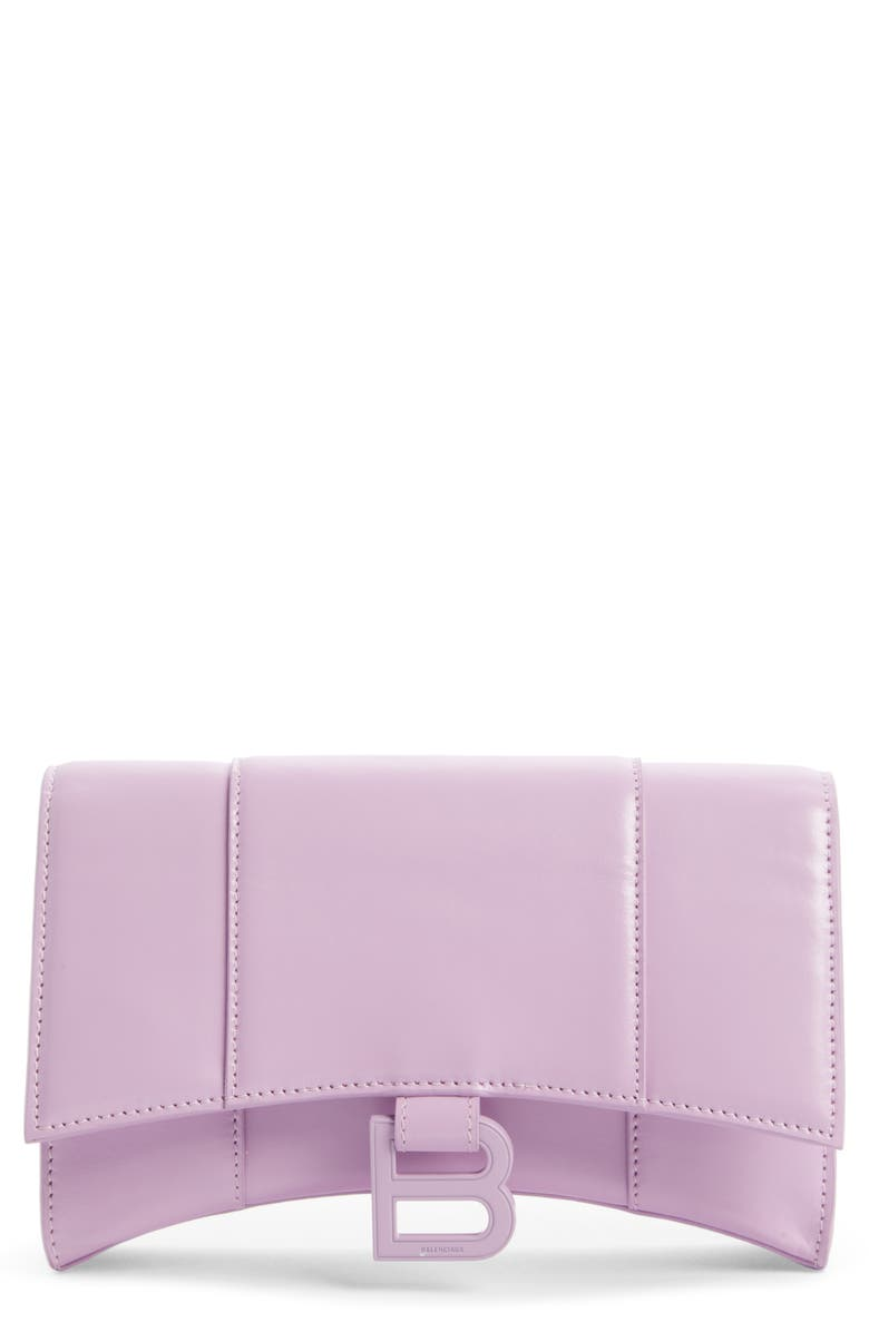 BALENCIAGA Hourglass Leather Wallet on a Chain, Main, color, 533