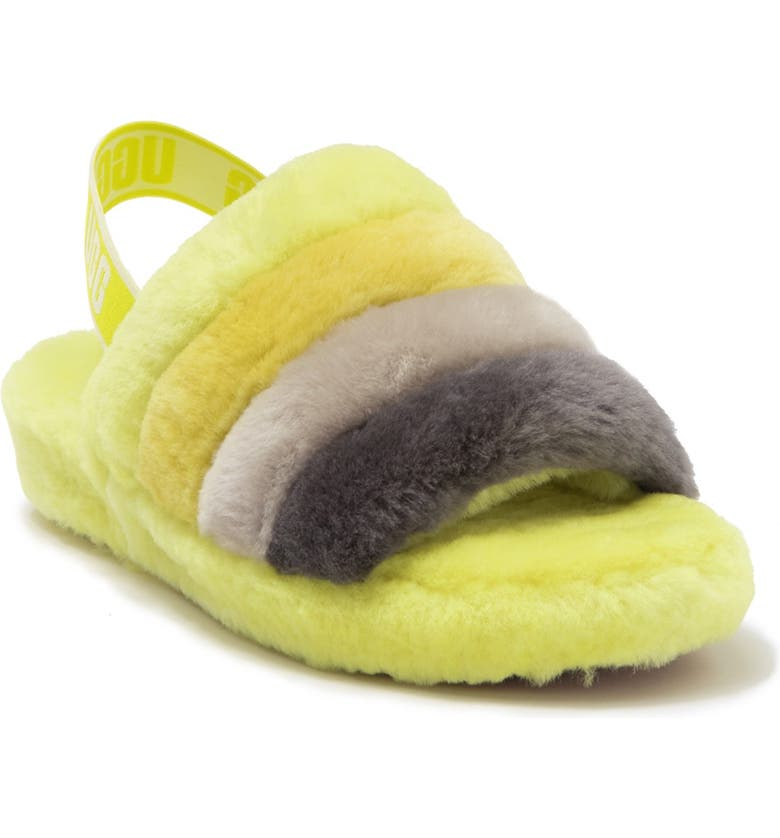 UGG<SUP>®</SUP> Fluff Yeah Genuine Shearling Slingback Sandal, Main, color, SULFUR MULTICOLOR