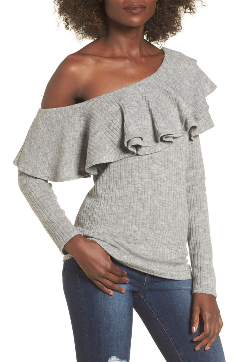 STOREE Ruffle One-Shoulder Sweater, Main, color, HEATHER GREY