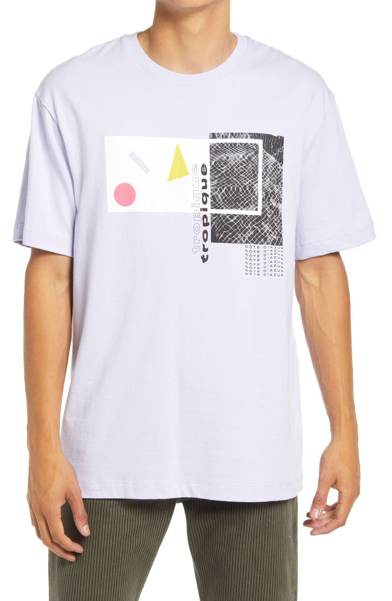 TOPMAN Men's Collage Graphic Tee, Main, color, LILAC